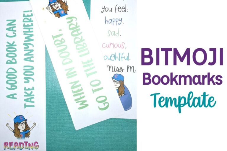 Bitmoji Bookmarks and text Bitmoji Bookmarks Template