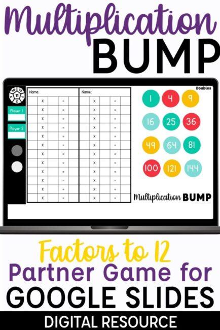 Multiplication Bump Digital Partner Game for Google Slides Multiplication Factors to 12