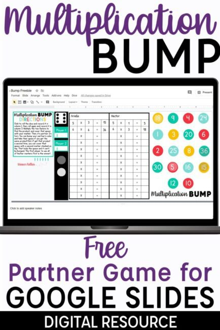 Multiplication Bump Free Partner Game for Google Slides