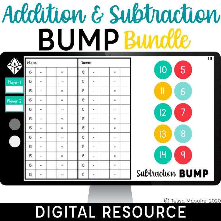 Digital Addition & Subtraction Bump Bundle for Google Slides and Google Classroom