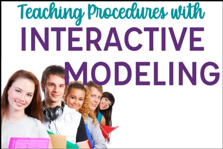 Teaching Classroom Procedures with Interactive Modeling text with students in a line