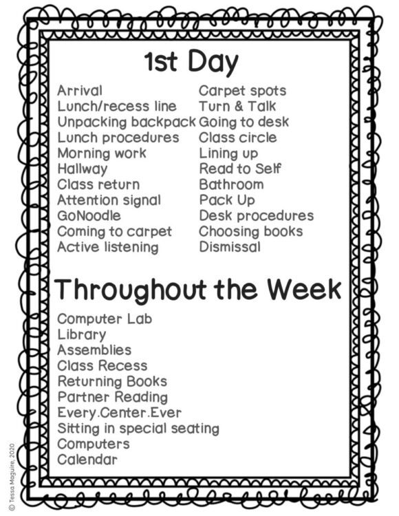 Classroom Procedures to Teach during the first week of school
