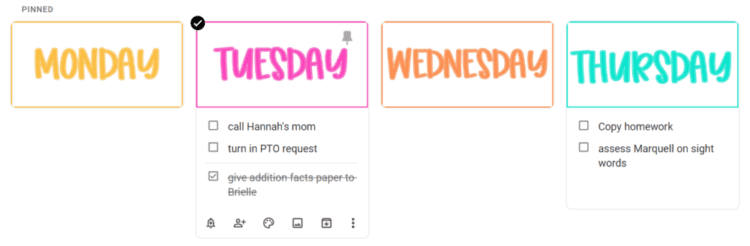 Days of the week checklists for the classroom