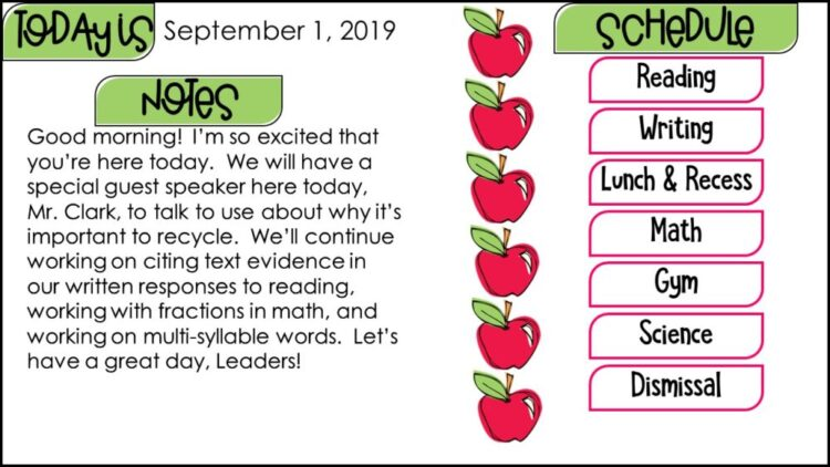 Daily Classroom Schedule and Morning Message