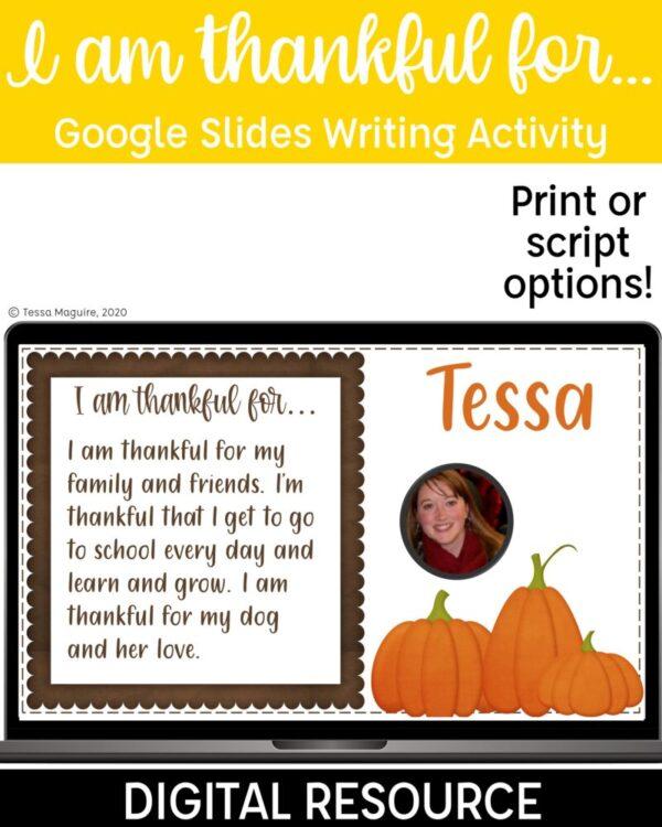 Thanksgiving Writing activity for Google Slides