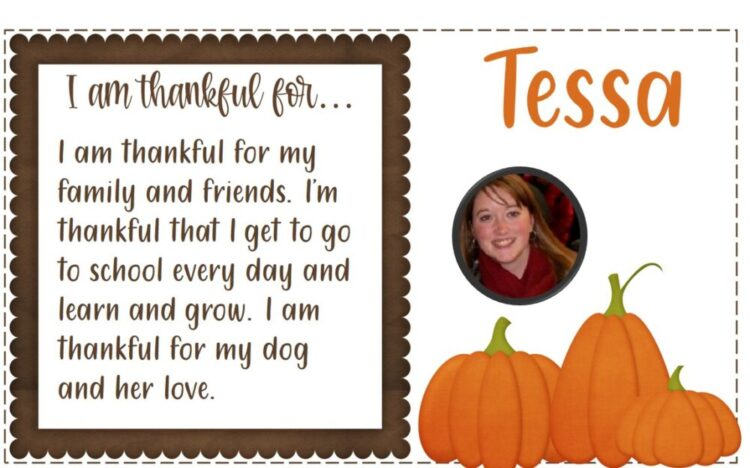 I am thankful for Thanksgiving Writing activity with text, name, and student image