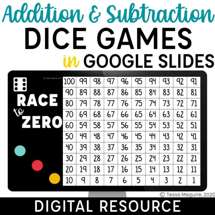 Addition and subtraction dice games in Google Slides
