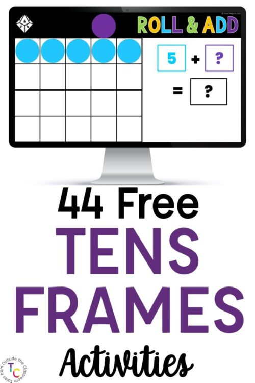 44 Free Tens Frame Activities text with computer screen
