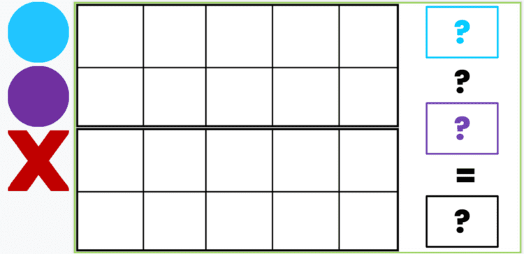 Double Tens Frame template in Google Slides with manipulatives