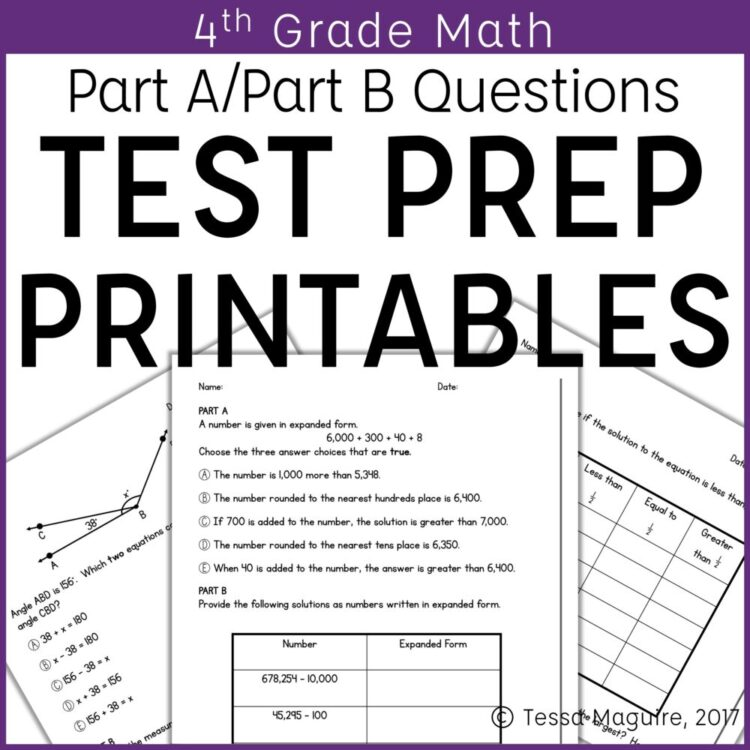 4th Grade Math Test Prep Printables