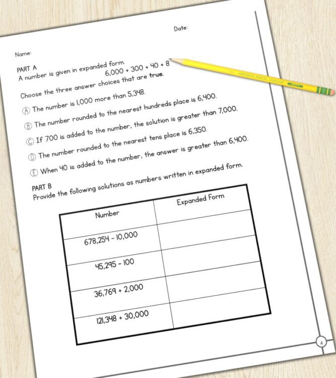 4th grade math test prep printable with pencil on table