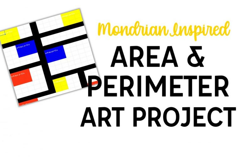 """Mondrian art image and """"Mondrian Inspired Area and Perimeter Art Project"""" text"""