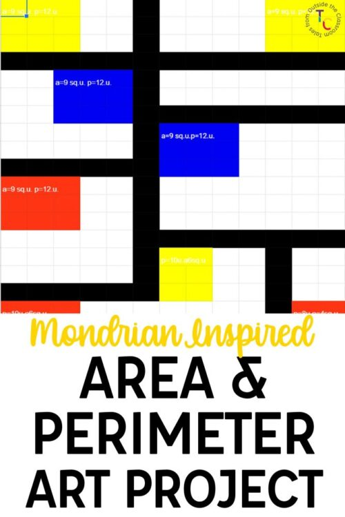 Mondrian Inspired Area and Perimeter Art Project