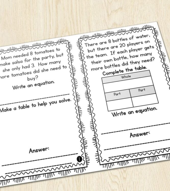1st Grade Word Problems of the Day- 2 word problems with part part whole table, writing equations, and writing answers