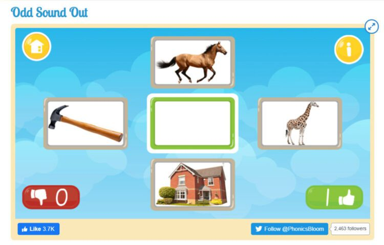 Odd Sound Out Matching Initial sounds game