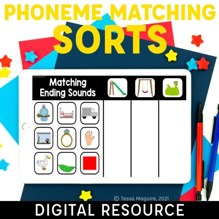 Phoneme Matching Sorts Digital Activity for isolating initial, medial, and final sounds in words