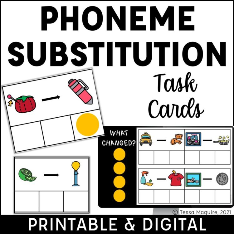 Phoneme Substitution Task Cards Printable and Digital Task Cards cover