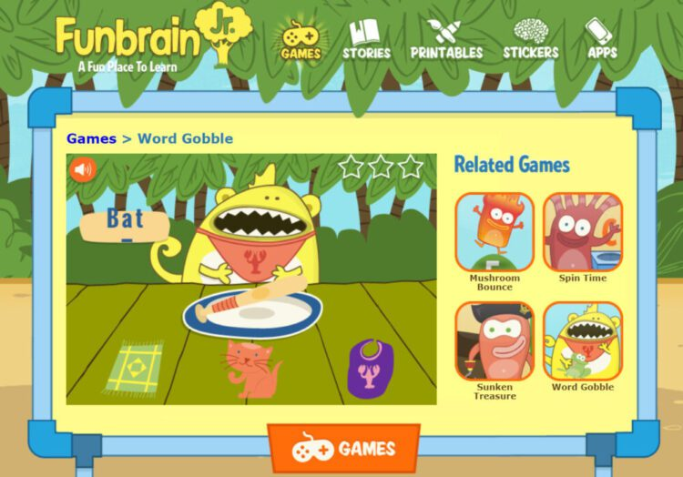 Word Gobble Medial Vowel Matching Game