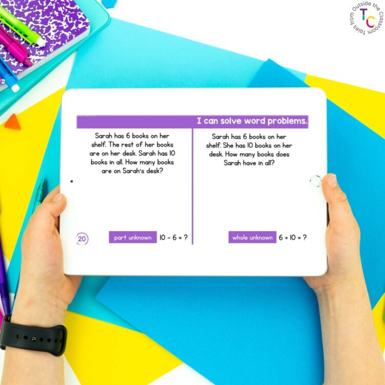 Part Part Whole Word Problem Identification on tablet with hands