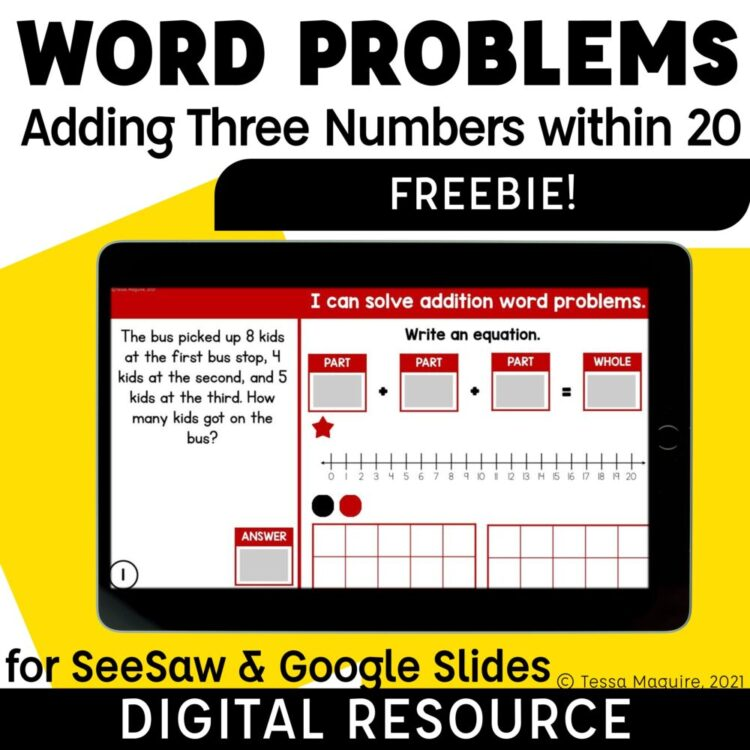 Word Problems: Adding Three Numbers within 20 Freebie text and tablet display