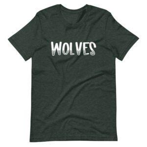 Heather Forest Green Wolves spirit wear mascot tee