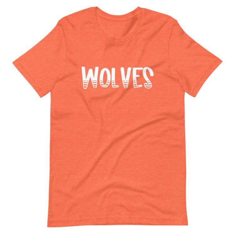 Heather orange Wolves Mascot t-shirt for school spirit days