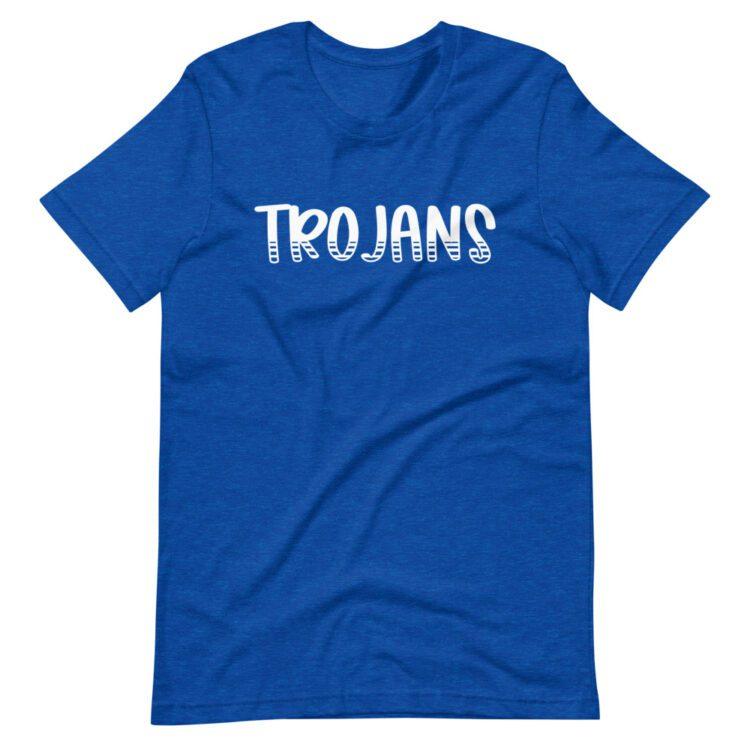 Royal Blue Trojans Tee mascot tee for school spirit wear