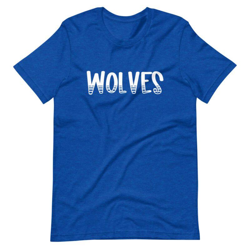 Royal Blue Wolves mascot t-shirt for school spirit days