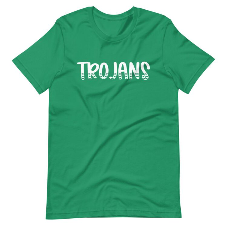 Kelly Green Trojans Mascot t-shirt for school spirit wear