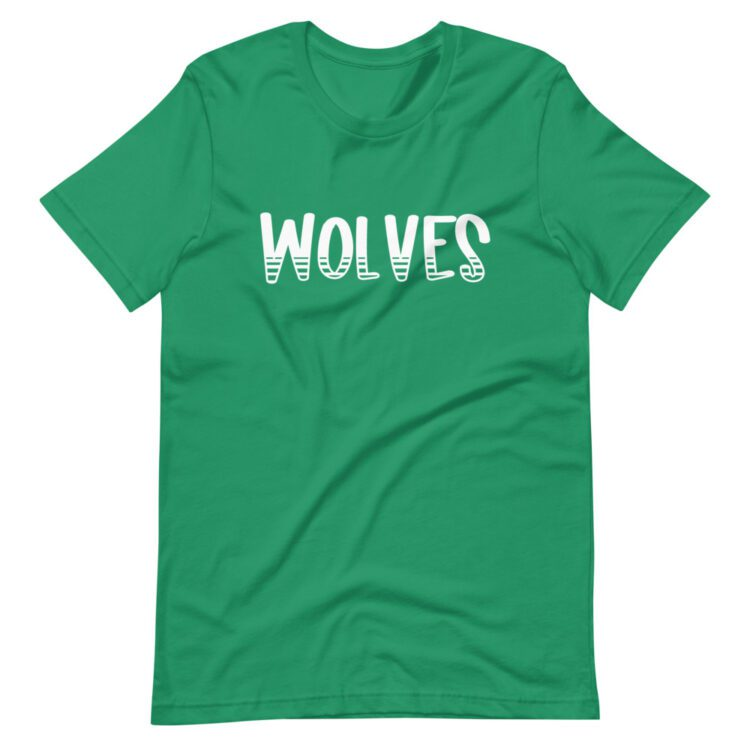 Green Wolves mascot tee for school spirit days