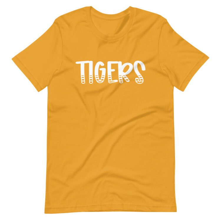 Mustard Yellow Tigers T-Shirt perfect for teachers and school staff for school spirit days