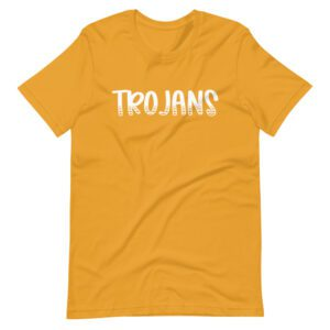Mustard Yellow Trojans t-shirt for teachers and school staff
