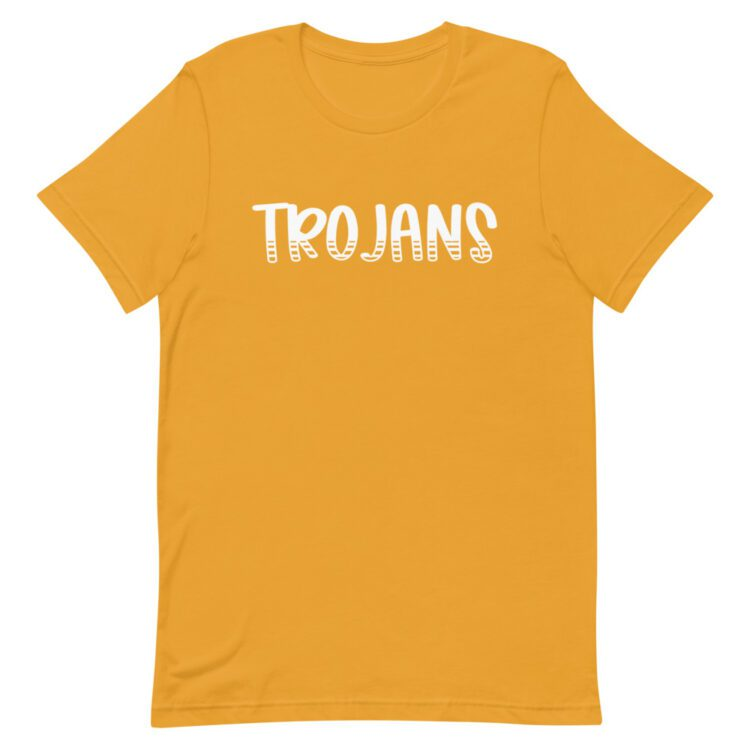 Mustard Yellow Trojans t-shirt for school spirit days