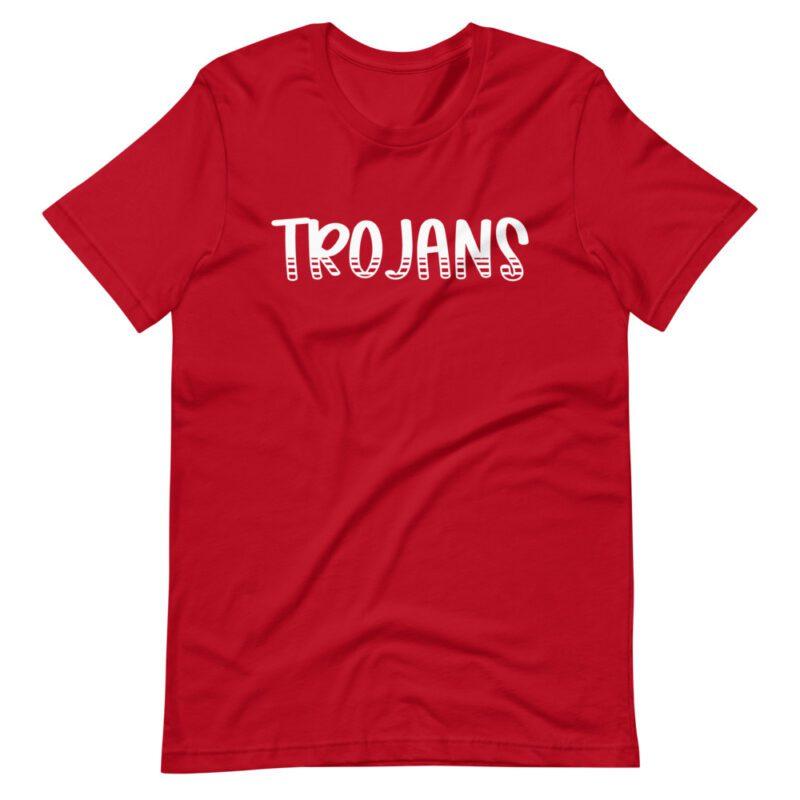 Red Trojans tee for teachers, school staff, school spirit days
